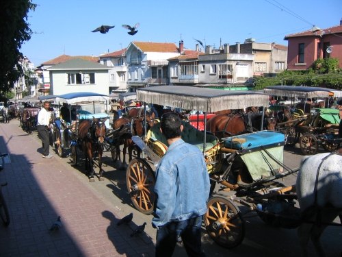 Der Parkplatz der Pferdegespanne