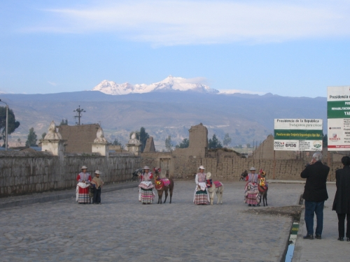 Lamas, Adler und traditionelle Kleidung fuer die Touristen
