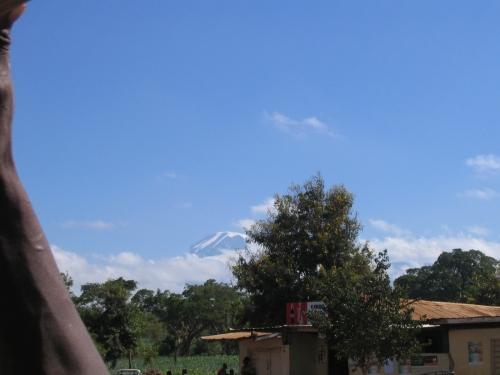 Blick aus dem dalla dalla auf den Mount Kilimanjaro