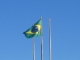 Die brasilianische Flagge an der Grenze