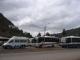 Busparade am Markt auf dem Weg ins Incatal
