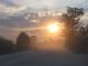 Sonnenuntergang im staubigen Katima Mulilo an der Grenze zu Zambia