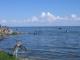 Voegel und badende Kinder im Lake Victoria